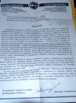 Uniunea Avocatilor din Republica Moldova i-a dat delegatie lui Vasile Botomei sa reprezinte avocatii din tara vecina in raport cu UNBR (Gheorghe Florea)