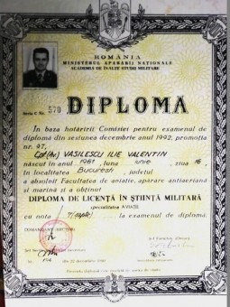 Academia de Inalte Studii Militare, diploma Vasilescu