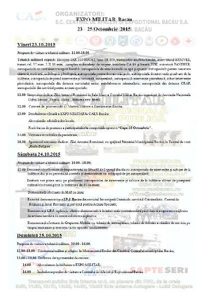 program Ziua Armatei Romane Bacau